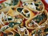 My pasta Rotolo of masala Aubergine, spiced spinach and feta