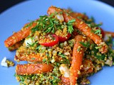 Roasted carrot, mung bean, Quinoa and tomato salad in a miso-masala dressing
