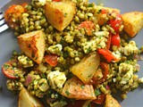 Roasted potato, mung bean, tomato and feta salad in Indian spice and za'atar