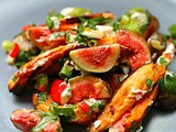 Roasted sweet potato, fig and goats cheese salad dressed with Thai basil, chilli and green garlic