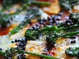 Saffron polenta, chipotle & tomato, black bean and Tenderstem bake