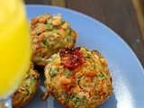 Slow-roasted piri piri spiced tomatoes with spinach in savoury muffins