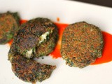 Spinach, black bean and cheddar tikki