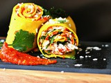 Stuffed Khandvi rolls with slow roasted tomato, garlic and fennel sauce