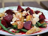 Sweet and chilli Beetroot, masala potatoes, toasted almonds, green beans and goats cheese salad