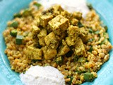 Tofu sambal with curried okra,faro and coconut yoghurt