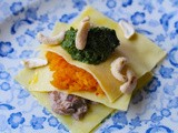 Vegetarian Christmas recipe – open ravioli filled with a layer of mushroom masala, another layer of saffron and chilli spiced butternut squash and topped with coriander and parsley pesto