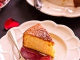 Yoghurt Cake with Sangria Poached Pears