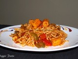 Veggie Pasta (Spaghetti with baby corn, red and green pepper)