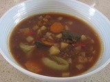 French Lentil vegetable soup with a hint of chilli