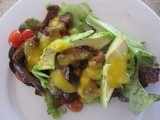 Spicy lamb salad with mango lime dressing