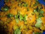 Spicy Gavarfali  dhokli/ cluster beans with wheat flour dumplings