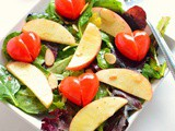 Valentines Day Salad With Cherry Tomato Hearts Recipe | Spring Mix Apple Cherry Tomato Salad Recipe
