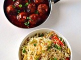 Vegetable Fried Rice  With Cabbage Manchurian ~Combo Meals