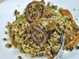 All Organic Barley & Mushroom Pilaf with stuffed obe Organic Beef Roulades - The flavours of good comfort