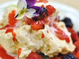 Soft Meringue Pavlova with Berries & a Meringue Crumble