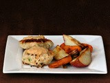 Crab Cakes with Roasted Veggies and Tangy Butter Sauce