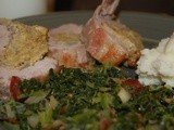 Stuffed Pork Tenderloin and Kale Tossed with Bacon