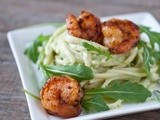 Avocado Alfredo Pasta with Spicy Shrimp