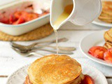 Cinnamon Honey Cornmeal Pancakes With Lemon Honey Cinnamon Syrup & Roasted Plums