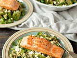 Quinoa, Lentil, Kale And Feta Salad With Salmon