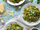 Spaghetti With Lemony Rocket & Walnut Pesto, Asparagus, Peas & Goat's Cheese