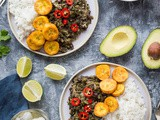 Spiced Black Beans and Callaloo With Coconut Rice and Plantain
