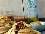 Toasted Coconut Pancakes With Chocolate Fudge Sauce