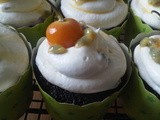 Chocolate Cupcakes with Passionfruit Curd Filling, Passionfruit Cream Cheese Frosting and a Kamquat Topping