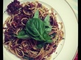 Corned Beef Spaghetti with Bird's Eye Chillies and Basil Leaves