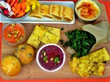 Vegetarian Snacks Platter | Bread, Crackers, Pastries and Dipping Sauces