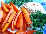 Chipotle carrot chips with hummus