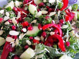 Easy & nourishing pomegranate kale salad with tahini lime marinade