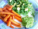 Rosemary carrot chips with a creamy lemon garlic pea puree