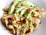 "Spicy egg fried cauli ""rice"" with avocado"