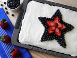 Patriotic Almond Sheet Cake