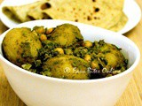 Baby Potatoes And Chickpeas in Green Masala & Green Masala Phulka