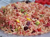 Colourful rice / vegetable pulao