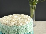 White velvet Cake with Whipped Vanilla blue Ombre frosting