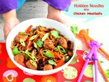 Hokkien noodles with chicken meatballs