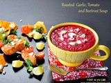 Roasted garlic, tomato and beetroot soup