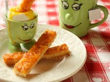A Really Good Egg:  Soft Boiled Eggs with Crunchy Ham and Cheese Soldiers