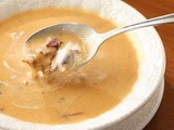 Celebrating National Soup Month:  Cream of Sun Dried Tomato Soup with Bacon and Fried Onions