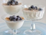Coconut Infused Vanilla Bean Panna Cotta with Frosted Blueberries and Toasted Coconut