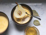 Baked Honey and Bay Custards with Pears