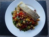 Cod with Chickpeas, Chorizo, Apple and Tomato