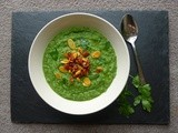 Kale, Pea, Courgette and Apple Soup (with Chorizo Almond Crumble)