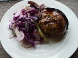 Red Cabbage, Fennel and Pear Slaw with Pork Chops
