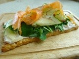 Smoked salmon, basil and courgette rustic tart