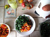 Roasted Sweet Potatoes, Black Beans, Tomatoes, Cumin + Kale